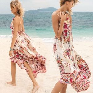 Strappy Floral MAXI Dress Beach Coverup White